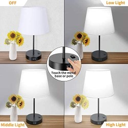 Touch Control Table Lamp, 3 Way Dimmable Bedside Desk Lamps with 2 USB Charging Ports & AC Outlet, White Fabric Shade Nightstand Lamp for Bedroom Living Room, 60W 5000K Daylight LED Bulb Included