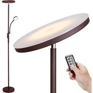 LED Floor Lamp - Soarz Torchiere Floor Lamp with Adjustable Reading Lamp,2000lumen Main Light and 400lumens Side Reading Light for Living Room, Bedroom, Office, Work with Remote Control (Brown)