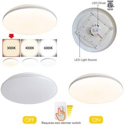 15.4 Inch Modern LED Flush Mount Ceiling Light Round 30W 2580lm Dimmable for Bedroom Dining Room Kitchen,Warm White 3000K