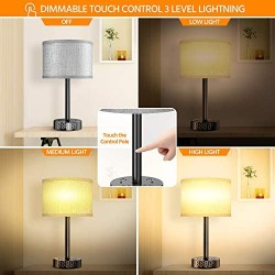 Table Lamp With Alarm Clock, Touch Control Desk Lamp with 2 USB Ports& 2 AC Outlets, Alarm Clock Charging Base w/6Ft Power Cord, 3 Level Brightness Modern Nightstand Lamps for Bedroom Dorm Living Room