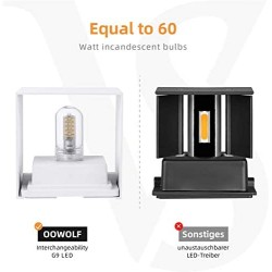 OOWOLF Sconce Set of 2 LED Wall Lamp, 3000K Warm White Up and Down Outdoor Indoor, Waterproof IP65 Aluminum LED Wall Lighting, Replaceable G9 LED Bulb, 100V-240V for Bathroom, Hallway, Patio White