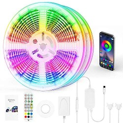 100 FT LED Strip Lights, LED Lights for Bedroom 100 ft with Remote + Bluetooth APP Phone Controlled Color Changing Long Smart LED Light Strip (2 Rolls of 50ft RGB LED Strip Lights)-Sync with Music