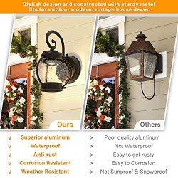 2-Pack Dusk to Dawn Sensor Outdoor Wall Sconce, Seeded Glass Exterior Wall Lantern Light Fixture, Waterproof Anti-Rust Matte Black Wall Mount Lights with E26 Base LED Bulbs for Porch Entryway Doorway