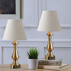 Capslpad Set of 2 Table Lamps with 2 USB Ports Vintage Bedside Table Lamp Beige Shade Nightstand Lamps for Bedroom Living Room Office Kids Room (Pull Chain,Antique Brass)