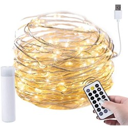 100 Led Fairy Lights 33 Feet Firefly String Lights with Remote and Plug Waterproof Silver Wire Firefly Lights for Indoor Outdoor Christmas Decorative Patio Wedding Warm White