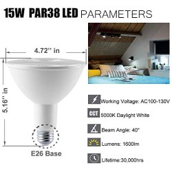 PAR38 LED Flood Light 5000K Daylight Dimmable 15W(100W Halogen Equivalent) E26 1600LM 40 Degree Spotlight Bulbs for Outdoor Indoor Ceiling Recessed Lighting 6-Pack¡
