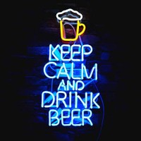 Neon Signs Keep Calm and Beer Handmade Real Glass Neon Sign for Bedroom Office Hotel Pub Cafe Recreation Room Wall Decor Night Light 18
