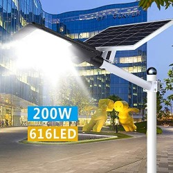 200W LED Solar Street Lights, Flood Lights Outdoor Dusk to Dawn with Remote Control, 9200 Lumens Motion Sensor Waterproof Security Led Pole Light for Yard, Garden, Pathway (Mounting Arm Included)