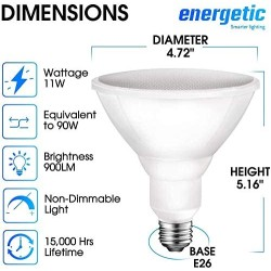 PAR38 LED Flood Outdoor Light Bulb, 5000K Daylight, 90 Watt Equivalent (11W), Wet Rated, 900LM, E26 Base, Non-Dimmable, UL, 6 Pack