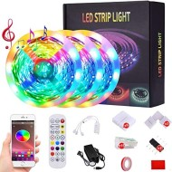 50ft Led Strip Lights Music Sync Color Changing 5050 RGB LED Light Strips Kit, Built-in Mic,App Control with Remote for Home Kitchen