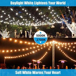 2-Pack 48FT Dimmable LED Outdoor String Lights for Patio with Waterproof Shatterproof 5000K Daylight White E26 LED Bulbs, 15 Sockets, Linkable Commercial Grade Hanging String Lights for Cafe Backyard