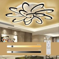 Jior Ceiling Light Fixture LED for Living Room, Modern, Study, NiteCore Extreme Remote Control 120W 9600LM 12 Heads 39inch