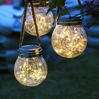 Solar Lights Hanging Outdoor 2 Pack ,Solar Laterns Decorative Hanging Outdoor,30 LED Waterproof IP65,Cracked Glass Jar Garden Light, for Court,Yard,Patio,Pathway,Halloween Christmas Day Holiday Party