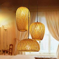 Bamboo Lantern Pendant Lamp, Retro Japanese Style E27 Chandelier Hanging Light Ceiling Lighting Fixture for Living Room Bedroom Restaurant Cafe Tea House Bar Dining Room Club (3 Head Light)