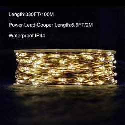 1000 LED Fairy Lights with Remote - 328FT Outdoor Long Christmas String Lights Plug in (Copper Wire Lights, Warm White)