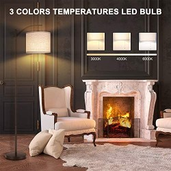 Joofo Floor Lamp, Living Room Floor Lamp, Reading Standing Light with Hanging Lampshade, 9W LED Light Bulb and 3 Color Temperatures Floor Lamp for Living Room, Bedrooms, Office, Brown