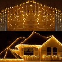 Joomer LED Icicle Lights,300 LED 19.6Ft 8 Modes with 60 Drops,Icicle Christmas Lights with Timer,Waterproof Connectable Outdoor String Lights for Holiday,Christmas,Wedding Decorations (Warm White)
