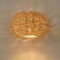 Rattan Woven Pendant Lamp Birds Nest Chandelier Rustic Bamboo Wicker Hanging Ceiling Lamp Handmade Weaved Dome Pendant Light for Living Room Bedroom Hotel Restaurant (40CM)