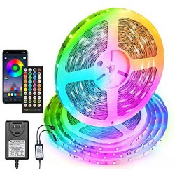1 Roll of 50ft LED Light Strip, Music Sync Color Changing RGB Strip Lights, Bluetooth LED Light Strip with App and 40 Keys Remote Controller, SMD 5050 LED Tape Light for Bedroom Party Home Decoration