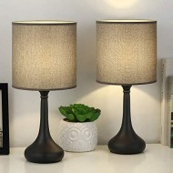 Bedside Nightstand Table Lamps, Modern Black Metal Base with Grey Linen Lampshade Desk Lamp, Small Lamp Set of 2 for Living Room, Dorm, Kids Room, Hotel, Hallway Decor