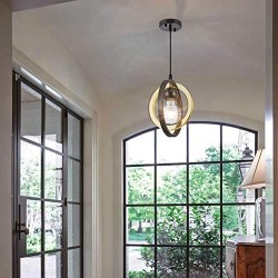 1-Light Modern Mini Pendant Light Globe, Small Chandelier with Acrylic Ring Lampshade, Hanging Ceiling Light Fixture for Kitchen Island, Dining Room, Bedroom, Foyer and Bar