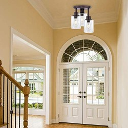Semi Flush Mount Ceiling Light, 3-Light Close to Ceiling Light Fixtures, Vintage Oil-Rubbed Bronze Finish with Clear Seeded Glass Shade Chandelier Lighting for Stairs Porch Hallway Entryway Kitchen