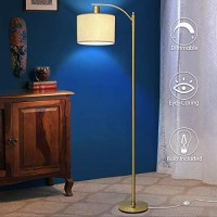 Gold Led Floor Lamp with Dimmer, Fully Dimmable Standing Lamp, Bright Couch Reading Light with Hanging Lampshade and Sturdy Base, Tall Pole Lamp for Living Room, Bedroom, Corner, 8W LED Bulb Included