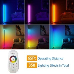 20W RGB Color Changing Standing Corner Lamp, Dimmable LED Smart Floor Lamp for Living Room Bedroom with Remote Controller, 55