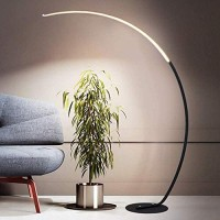 BXZ Led Arc Floor Lamp, Modern Metal Floor Light with 3 Color Temperatures, Acrylic Shade, Foot Switch, Iron Base, Eye Care Reading Lamp for Living Room, Bedroom, Office, Study