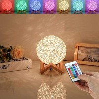 HUAQINZM LED Globe Rattan Ball Lamp 5.9 inch for ,Globe lamp,Bedroom Atmosphere Light,Childrens Night Light,LED Projector Night Lamps with Remote
