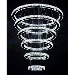 SILJOY Modern Crystal Chandelier Lighting Galaxy Series 6 Rings 8&-12&-16&-20&-24&-28&, 3-Color Changing LED Light Fixture