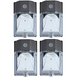 26W 3000LM LED Wall Pack Light, 120-277Vac 5000K Daylight, Photocell Dusk to Dawn Wall Pack, 150-250W MH/HPS Replacement, Outdoor Security Lighting Fixtures, Clear Lens (4 Pack)