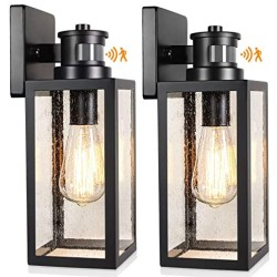 2-Pack Motion Sensor Outdoor Wall Lanterns, Upgrade Dusk to Dawn Wall Sconce, Waterproof Porch Light Fixtures Wall Mount with Seeded Glass for Entryway Doorway Garage, E26 Socket, PIR Motion Activated