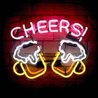 Cheers Glass Neon Signs Beer Bar Club Bedroom Glass Neon Lights Sign for Office Hotel Pub Cafe Wedding Birthday Party Man Cave Neon Light Art Wall Lights 14.5