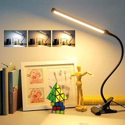 (2021 Upgraded) Led Clip On Light Reading Light-64 LED 10W Desk Lamps with USB Charging Port,3 Color Modes 11 Brightness,Stepless Dimmer/Auto Off,Clamp Lights for Computer Laptop Bedbesides Headborard