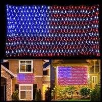 6.5ft3.3ft 420LED American Flag Net Lights String Light Waterproof for Christmas, Holiday, Independence Day, Memorial Day, Decoration, Garden, Yard, Indoor Outdoor