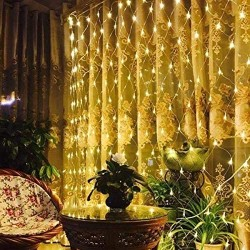 100 Led Net Curtain Fairy Light String Warm White Battery Powered, 8 Modes Remote Timer Dimmable Garden Patio Mesh Lighting for Bush Deck Fence Wall Party Wedding Christmas Decor (4.9ft x 4.9ft)