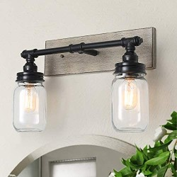 GEPOW Farmhouse Bathroom Vanity Light Fixtures with Mason jar Shade, Faux Wood Finish (18'' X 6.5'' X 12'')