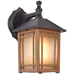 1-Light Outdoor Exterior Waterproof Wall Lantern on Diecast Aluminum with Art Glass,Dark Wood Grain Porch Lights, Exterior Wall Sconce Lighting, Anti-Rust Wall Lamp