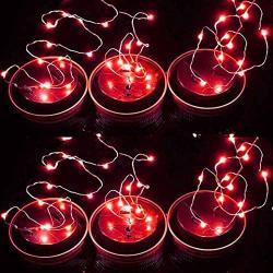 POPPAP Solar Jar Lid Lights for Mason Jars Decor Indoor Outdoor Mood Light Firefly Lights Solar Mason Jar Lids Lights/6Lids 20LED 78.74inch Length Red Lighting