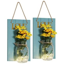 VECELO Mason Jar Sconces Wall Decor,Rustic Wall Sconce with 6-Hour Timer LED Fairy Lights and Flowers for Home Kitchen/Bedroom/Venue/Farmhouse(Set of 2) (Blue, Large) …