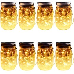 Solar Mason Jar Hanging Lights, 8 Pack 30 LEDs(Hangers & Jars Included) String Fairy Lights Glass Solar Laterns Table Lights,Outdoor Lawn Lamps Décor for Patio Garden,Yard,Floor,Steps and Deck