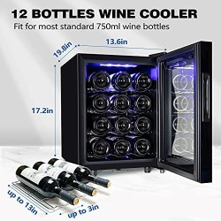 12 Bottle Wine Cooler Refrigerator,Wine Fridge Freestanding with Lock & Digital Temperature Control Fridge Glass Door,Mini Wine Cabinet for Red, White, Champagne or Sparkling