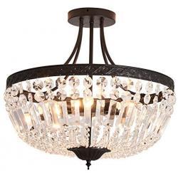 YYJLX 5-Light E26 Crystal Ceiling Light Fixture ,  Modern Semi Flush Mount Chandelier , Pendant Lighting for Living Room Dining Room Kitchen Hallway  Bedroom Laundry Bathroom(Black)